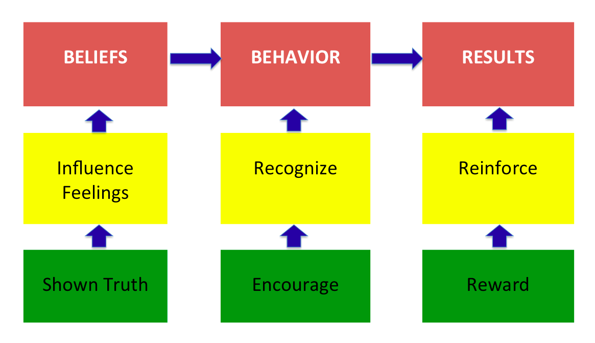 Fig. 1. Beliefs to Results Connection Model